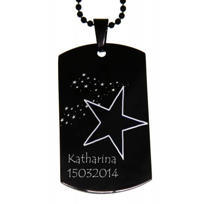 Dog Tag XL black mit Gravur