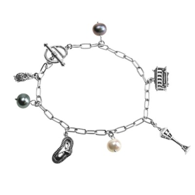 Bettelarmband MIDNIGHT MOON aus Sterling Silber mit Charms