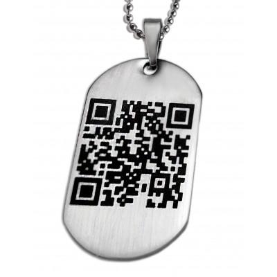 Dog Tag Anhänger mit QR-Code Gravur