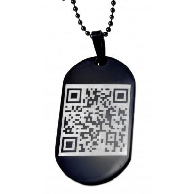 Dog Tag Anhänger schwarz mit QR-Code Gravur