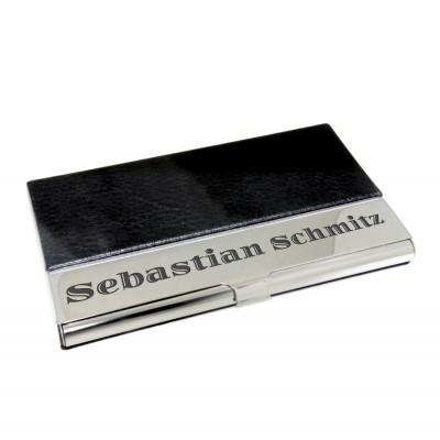 Visitenkartenbox schwarz mit Gravur