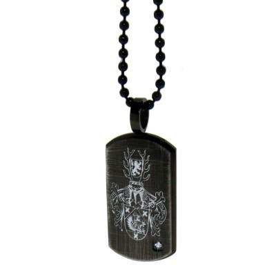 Dog Tag Anhänger mit Kristall, Antik-Look schwarz mit Gravur
