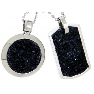Partneranhänger Set mit schwarzer Mineral-Einlage und Wunschgravur