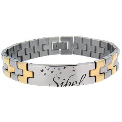 Armband mit Gravur bicolor stahl / gold PVD