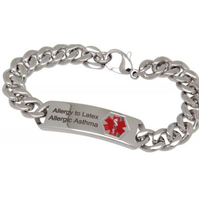 Notfall-Armband mit Gravurplatte 1,3cm x 3,7cm mit Gravur