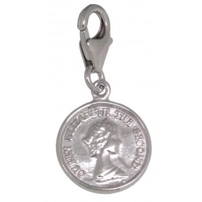 Charm-Anhänger Münze mit Königin Elisabeth