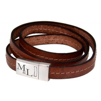 Armband mit Gravur Echtleder hellbraun