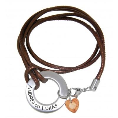 Wickelarmband Echtleder mit Kristall-Herz und Ring mit Gravur