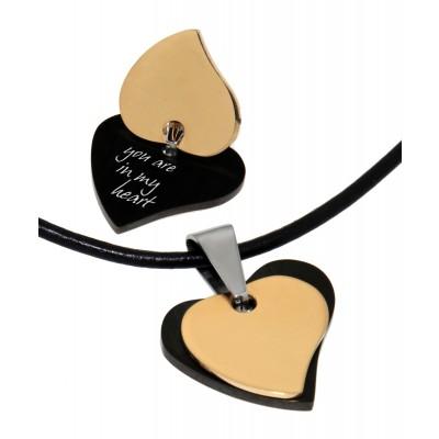 Doppelter Herzen-Anhänger schwarz-goldfarben mit Gravur