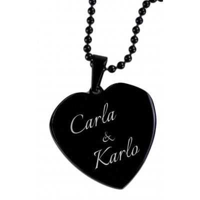 Kettenanhänger Heart in Black mit Gravur