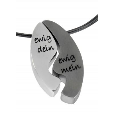 Kettenanhänger Duo oval, mit Gravur