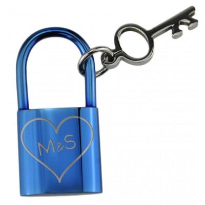 Kettenanhänger Liebesschloss-Design in blau mit Gravur