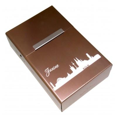 Zigarettenbox mit Gravur sandfarben