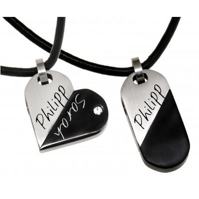 Herz-Anhänger mit Kristallstein und Wunschgravur