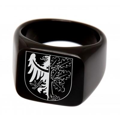 Siegelring mit eckiger Fläche, schwarz, mit Gravur
