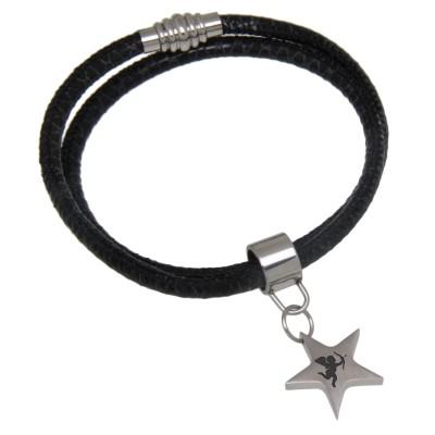 Wickelarmband Leder schwarz und Stern Anhänger mit Gravur
