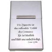 Zigarettenbox mit Gravur silberfarben