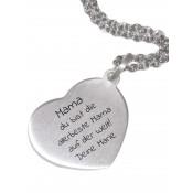Herzförmiger Kettenanhänger aus Silber mit Wunschgravur