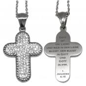 Kreuz-Anhänger mit glitzernden Kristallen und Gravur